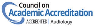 Logo indicating accreditation of the audiology program by the Council on Academic Accreditation