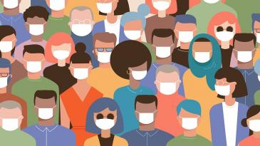 Colorful graphic of diverse people wearing masks